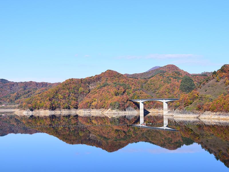 摺上川ダム「茂庭っ湖(モニワッコ)」の紅葉1