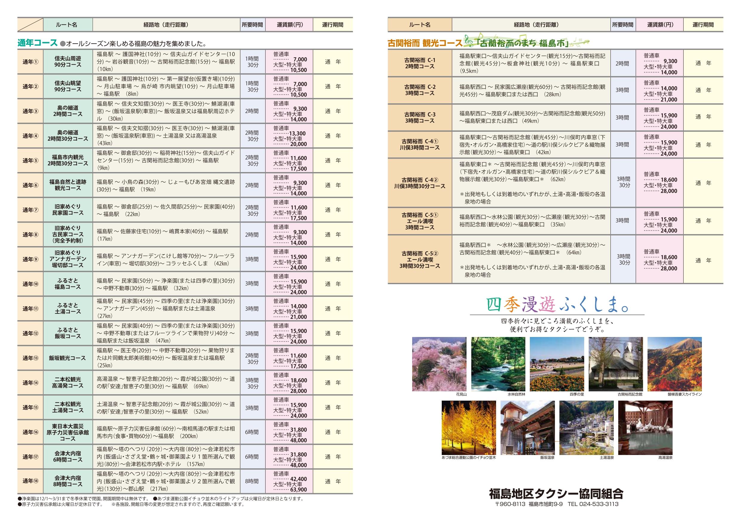 タクシーでまわる福島市観光ルートのご案内(通年・古関裕而)